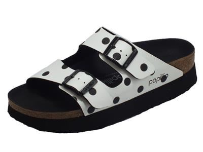 Papillio 1015878 Arizona Pap White Black Dots Sandalo per Donna in ecopelle a poisse