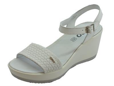 Sandali Igi&Co per donna in pelle bianca zeppa alta