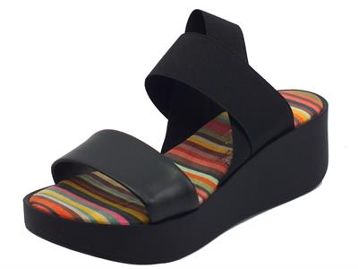 Articolo The FLEXX Maya Kino Elastic Lam Multi Black Sandali per donna con zeppa media