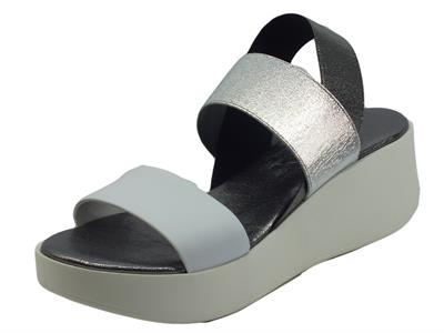 Articolo The FLEXX Maya Kino Elastic Lam Multi White Sandali per donna con zeppa media