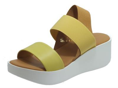 TheFLEXX Maya Portofino Elastic Mix Yellow Sandali per Donna in pelle zeppa alta