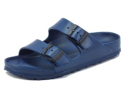 Ciabatta Birkenstock per donna in gomma blu scuro fibbia regolabile