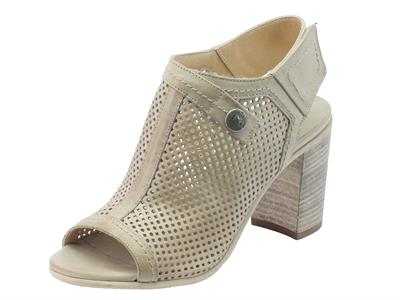 NeroGiardini sandali donna in pelle traforata chamagne tacco alto velcro posteriore