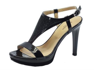 Articolo NeroGiardini sandali donna in vernice e camoscio nera tacco a spillo