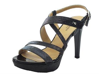 NeroGiardini sandali donna in vernice e glitter nero tacco a spillo
