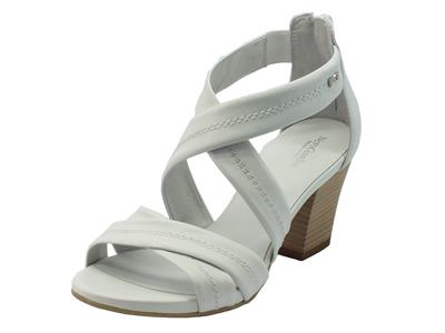 NeroGiardini sandali per donna in pelle bianca tacco medio