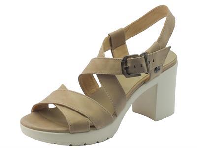 NeroGiardini sandali per donna in pelle champagne tacco alto