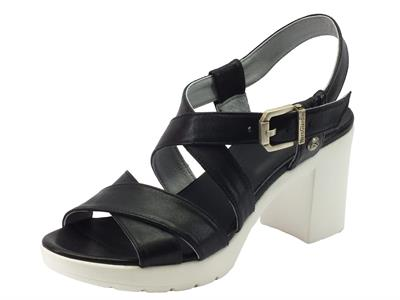 Articolo NeroGiardini sandali per donna in pelle nera tacco alto