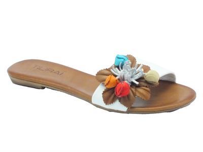 Sandali bassi Tiurai per donna in pelle bianca con fiore