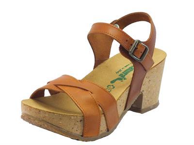 Sandali BioNatura in pelle marrone chiara tacco medio e plateau