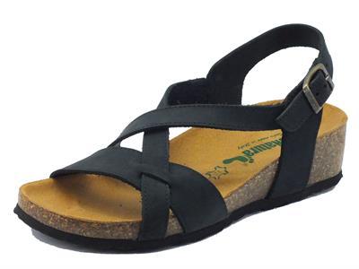 Sandali BioNatura per donna in nabuk nero zeppa bassa