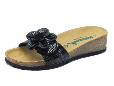 Sandali BioNatura per donna in pelle effetto intrecciata colore nero regolazione velcro