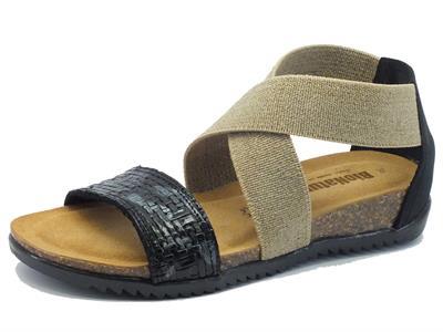 Sandali BioNatura per donna in pelle intrecciata nera e fasce elasticizzate zeppa bassa