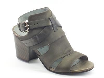 Sandali CafèNoir in pelle grigio scuro tacco 7cm