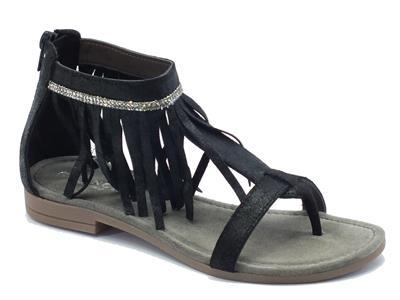 Articolo Sandali CafèNoir per donna in pelle satinata nera con frangiette