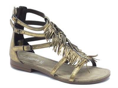 Sandali CafèNoir per donna in pelle satinata oro con frangiette