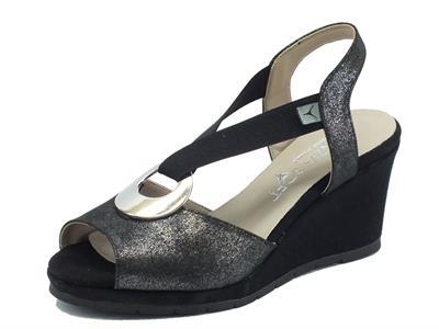 Sandali Cinzia Soft in tessuto glitterato nero zeppa alta
