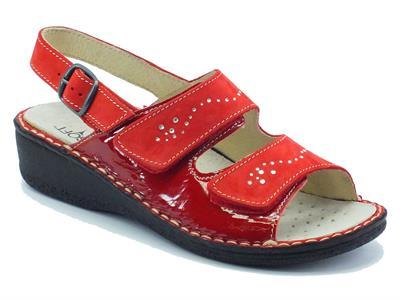 Sandali Cinzia Soft per donna in nabuk e vernice rosso doppio velcro