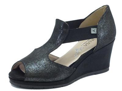 Sandali Cinzia Soft per donna in tessuto glitterato nero zeppa alta