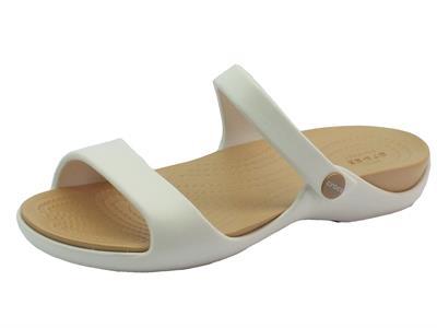 Articolo Sandali Crocs per donna in gomma crema e bianca