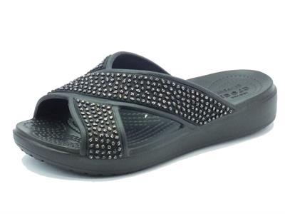 Articolo Sandali Crocs per donna in gomma nera effetto brillantinato