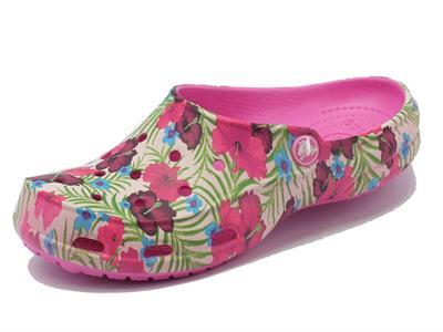 Sandali Crocs per donna in gomma viola con effetto floreale