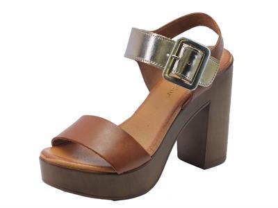 Sandali donna Mercante di Fiori in pelle colore marrone e oro tacco alto