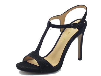 Sandali eleganti CafèNoir in tessuto con glitter nero tacco a spillo