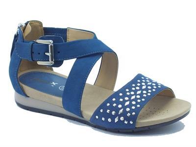 Sandali Geox per donna in camoscio blu con bulloncini