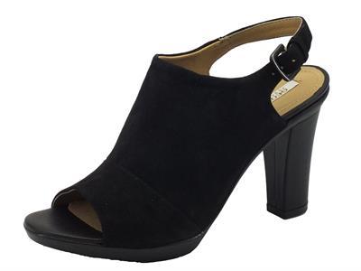 Sandali Geox per donna in nabuk nero tacco alto