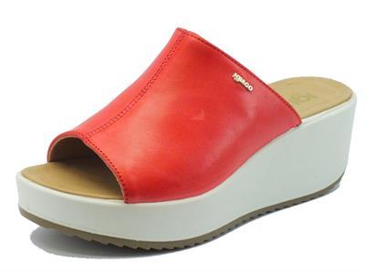 Sandali Igi&Co per donna in pelle rossa zeppa alta
