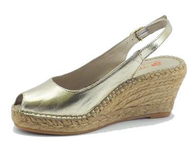 sandali macarena per donna in pelle colore oro zeppa in corda - Sandale Colore