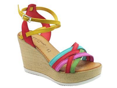 Sandali Mercante di Fiori donna in nabuk multicolore zeppa effetto tela