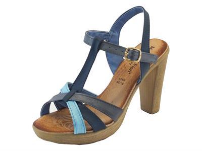 Sandali Mercante di Fiori in pelle blu e celeste con tacco alto