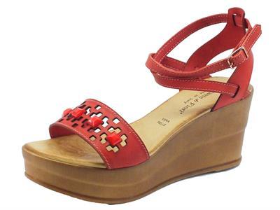 Sandali Mercante di Fiori in pelle corallo fibbia alla caviglia zeppa alta