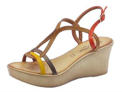 Sandali Mercante di Fiori in pelle multicolore rosso marrone senape