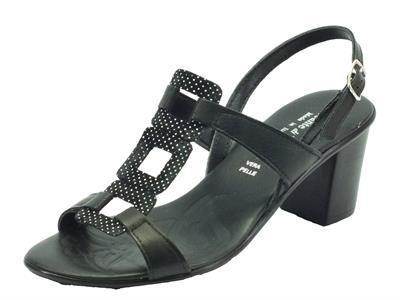 Sandali Mercante di Fiori in pelle nera tacco medio