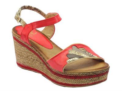 Sandali Mercante di Fiori in pelle rossa con zeppa bicolore effetto corda