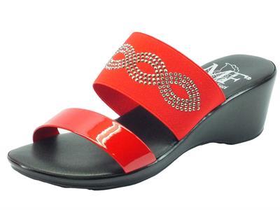 Sandali Mercante di Fiori in tessuto rosso e strass argento zeppa media