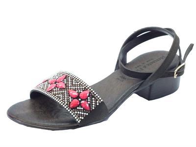 Sandali Mercante di Fiori per donna in camoscio testa di moro tacco basso