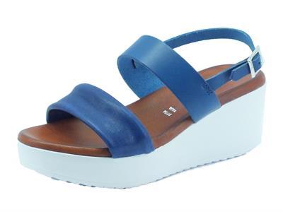 Sandali Mercante di Fiori per donna in pelle colore blu zeppa media