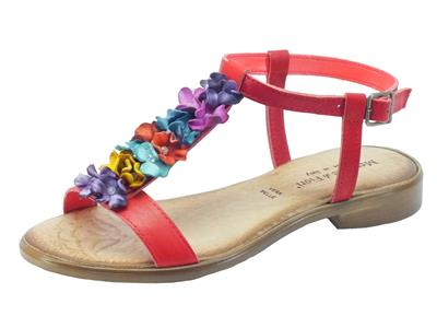 Sandali Mercante di Fiori per donna in pelle rossa tacco basso