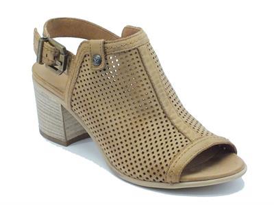 Sandali NeroGiardini per donna in nabuk traforato cuoio tacco medio