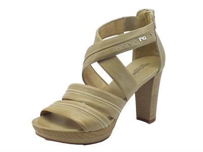 Sandali NeroGiardini per donna in pelle sabbia con lampo posteriore