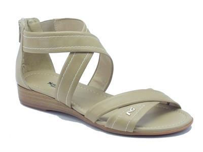 Sandali NeroGiardini per donna in pelle sabbia lampo posteriore con zeppa bassa