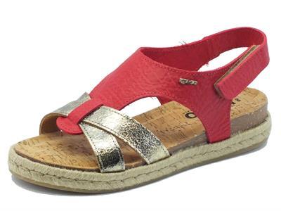 Sandali per donna Igi&Co in pelle effetto corallo e oro zeppa in corda