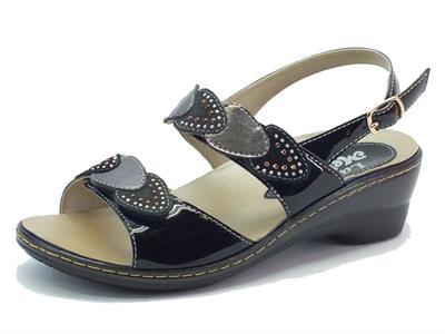 Sandali per donna Melluso in pelle, nabuk e vernice nera con plantare estraibile