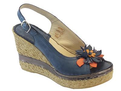 Sandali per donna Melluso in pelle blu zeppa alta effetto corda