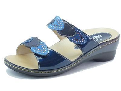 Sandali per donna Melluso in pelle e vernice blu plantare estraibile