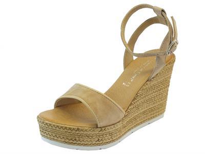 Sandali per donna Mercante di Fiori in camoscio beige e sabbia con zeppa alta effetto vimini